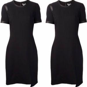 Helmut Lang leather trim short sleeve dress